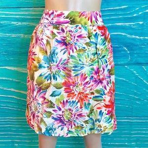 Loft Trendy Neon Daisy Skirt size 12